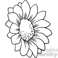 black and white flower vector clipart