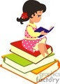 a little girl reading a book on a stack of books