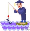 Cartoon student fishing in the water with a cap and gown