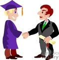 cartoon student receiving a diploma