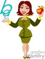 Cartoon teacher holding an apple