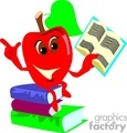 Cartoon apple reading from a book