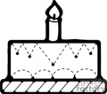 black and white birthday cake with one candle