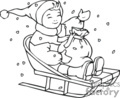 Black and White Happy Child Sledding in the Snow