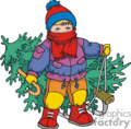 Child pulling a Christmas Tree Bundled in Winter Clothes and Red Scarf