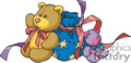 Colorful Teddy Bears with Small Sack and Ribbon