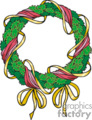 Christmas Wreath Wrapped with Golden Bow