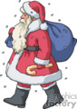 Santa Walking in the Snow With a Bag of Gifts
