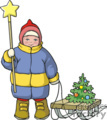 child pulling his christmas tree on his sled gif