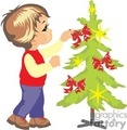 A little boy hanging bows on a christmas tree