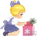 a little girl with a christmas present gif, jpg, eps