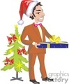 christmas xmas holidays tree giving gifts guy dad father family   christmas05-012 clip art holidays christmas  gif, jpg, eps