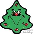 christmas tree with a smile and little hearts