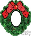 Frame Christmas Wreath with Red Sparkling Bow