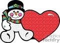 Happy Snowman with a Black Hat and Colorful Scarf Sitting Next to a Large Red Heart