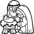 black and white Nativity scene