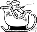 black and white Santa in his sleigh