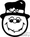 Black and White Happy Snowman Face Smiling