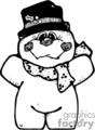 black and white happy chunky snowman with a hat and a scarf