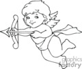a black and white cherub holding a bow and arrow