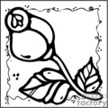 black and white cartoon rose