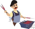 a man grilling kabobs on the bbq gif, jpg