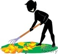 shadow people work working occupations raking rake leaf leafs lawn care fall seasons   occupation026 clip art people occupations