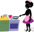 A women in an apron frying eggs