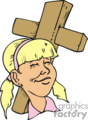 blond girl with a cross gif
