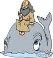 Jonah sitting on a cartoon whale - Moby Dick