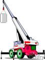 crane truck lifting a concrete pipe