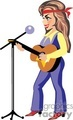 a cowgirl in jeans and red boots playing a guitar and singing into a microphone