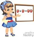 Little girl in class solving a math problem