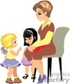 a preschool teacher talking with two small girls gif, png, jpg, eps