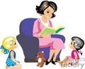 A Nice Happy Teacher Reading a Book to Two Girls