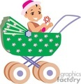 A Baby sitting in a Green Flowered Stroller Playing with a Toy