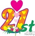 birthday birthdays anniversary anniversaries celebration celebrate 21 21st flower flowers heart hearts love gif, png, jpg, eps