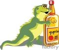 funny green cartoon iguana with tequila