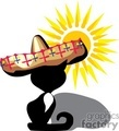 black cat wearing a sombrero sitting in the sun
