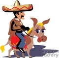 mexican cowboy riding a donkey