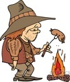 cowboy cooking a hot dog of a campfire