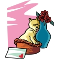 Dog in a basket for a Valentine's Day gift.
