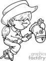 Black and white little cowgirl riding a pogo horse