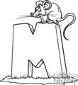 Little mouse sitting on a big M