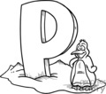 white letter p with a penguin
