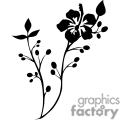 black drawing of a hibiscus flower on a branch