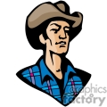A Rugged Cowboy Wearing a Blue Plaid Shirt and a Brown Leather Hat