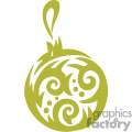 Single Green Ornate Christmas Bulb with a Swirl