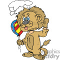person dressed up in a lion costume holding birthday balloons gif, png, jpg, eps