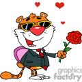 Cartoon Romantic Tiger with Flower